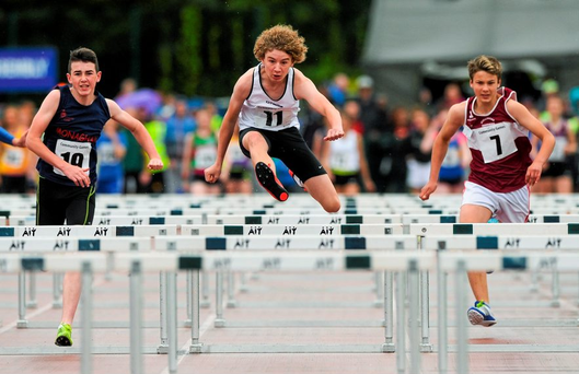 Mark Hughes, Lucas Moylan and Makyle Hope in the boys' U14 80m hurdles at the Community Games