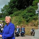 Minister Frances Fitzgerald pictured addressing the annual Michael Collins commemoration at Beal na mBlath, co. Cork