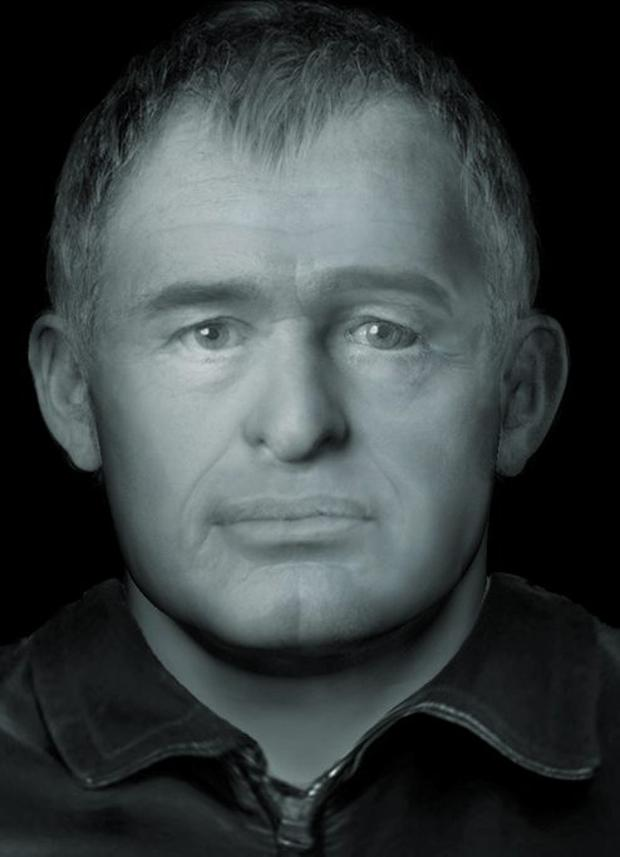 Facial reconstruction image of an unidentified man whose body was found in Rusheen Woods, Galway, on 27/09/2014. Gardai are appealing for information to identify the man