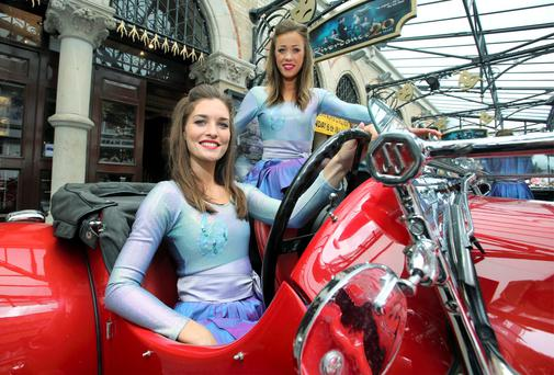 Riverdance dancers, Siobhan Manson (front) and Louise O Sullivan outside the Gaiety Theatre