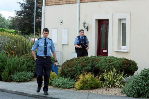 Gardai conduct a door to door at The scene of the Ramming at Balbriggan last night