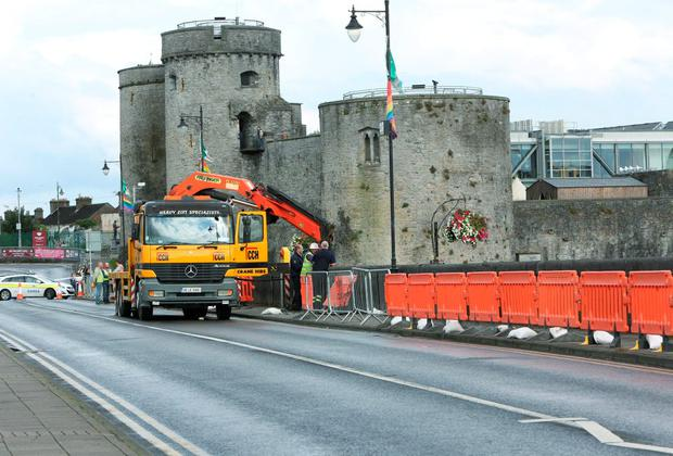 The scene of the accident on Thomond Bridge in Limerick which claimed the lives of TJ Herlihy and Bryan Whela