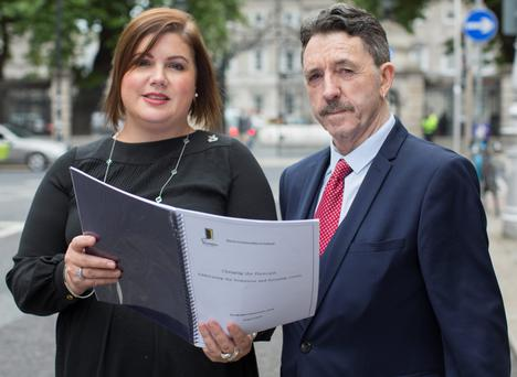 Niamh Randall national spokesperson for the Simon Communities & Glenn Gannon who spent three and half years on the streets of Dublin and now credits the Simon Community, with whom he now volunteers, for getting back on track, at the Launch of Simon Communities Homeless Forecast Campaign & Pre Budget Submission