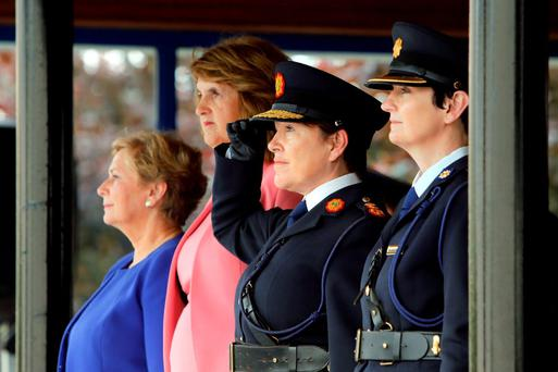 Minister for Justice and Equality Frances Fitzgerald TD, An Tanaiste Joan Burton TD and Garda Commissioner Noirin O'Sullivan pictured at the Garda Graduation Ceremony at the Garda College, Templemore, Co. Tipperary