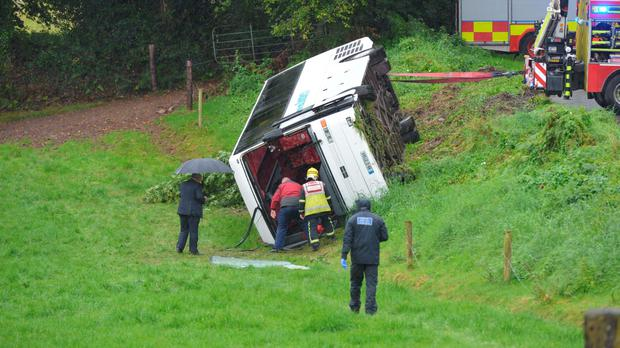 Emergency services at the scene of the bus crash at South Cregg, Cork