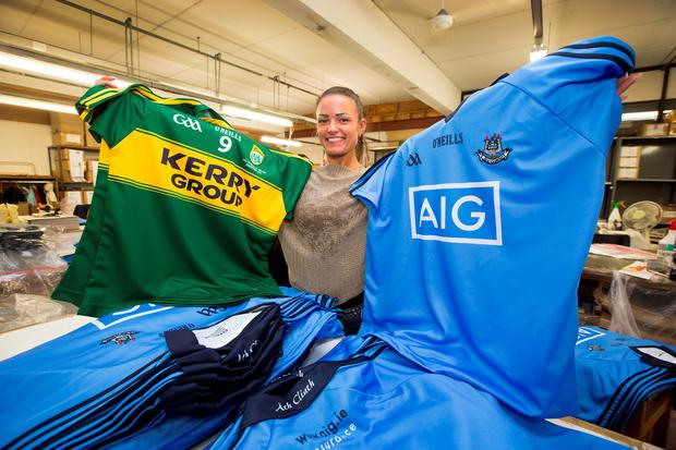 e7353603f Gabriella Visockiene with the Dublin and Kerry jerseys at the O Neills  factory at Walkinstown