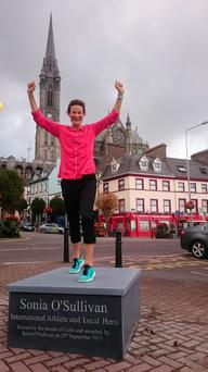 Sonia O'Sullivan standing on the plinth where a statue in her honour will be unveiled in her native Cobh on Sunday