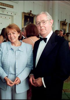 Former INM chief executive Liam Healy with his wife Eithne at Dublin Castle