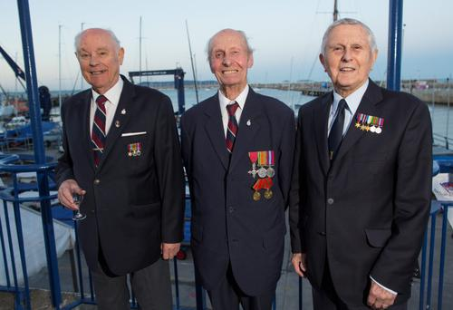 From Left: Jim Huston, Geoffrey Medcalf both Aircraft mechanics & Ted Jones Flt Lt in the RAF during World War II, at a reunion of ex RAF pilots to mark the 75th anniversary of the Battle of Britain, at the National Yacht Club in Dun Laoghaire