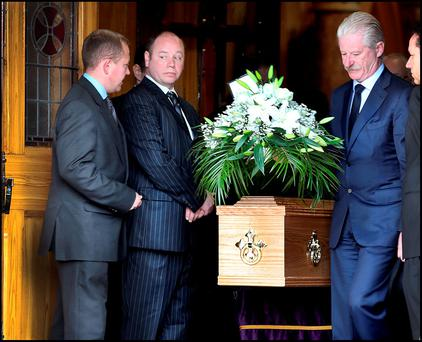The remains of Retired High Court Judge Paul Carney at the Church of the Sacred Heart in Donnybrook