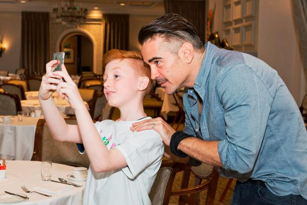 Eoin O'Sullivan takes a selfie with actor Colin Farrell at the Katie Rose Foundation event to raise awareness of the rare disease