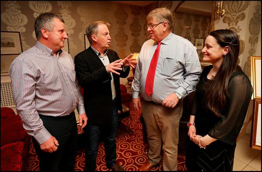 Francis Burke, secretary of Save Our Community, journalist Paul Williams, Robert O'Shea, chairman of Save Our Community and committee member Kathlyn Hanlon at last night's meeting