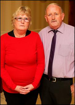Victim of Crime Michael Bracken and his wife Eileen who had to leave their Derrynaflan Road Home in Littleton Thurles who spoke at the Save Our Community National Public Meeting at the Anner Hotel in Thurles Co Tipperary
