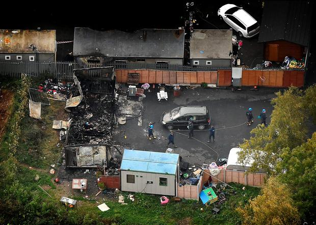 The aftermath of the fire in Carrickmines, in which 10 people were killed