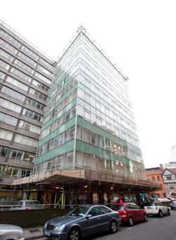 A safety scaffold has been erected at Hawkins House in Dublin