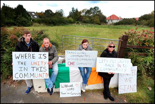 "People ""from within the borough"" – Stephen, Mark, Kim and Susan – yesterday voiced their support for the temporary halting site at Rockville Drive in Carrickmines, Dublin"
