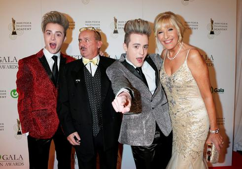 Brendan O'Carroll and Jenny Gibney with Jedward on the red carpet at the IFTA Awards last night