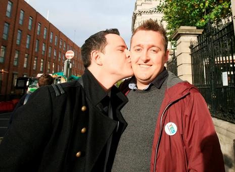 Anthony Kinahan and Barry Gardiner, both from Drogheda, who are looking forward to their wedding after the passage of the Marriage Bill 2015 yesterday
