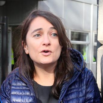 Diana O'Dwyer of the Anti-Austerity Alliance after a District Court hearing
