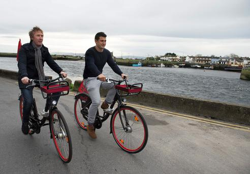 Hector O hEochagain at the launch of the Galway Bikes scheme