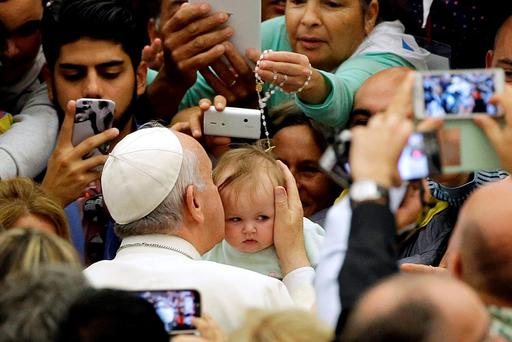 Pope Francis greets Roma and Traveller communities at the Vatican