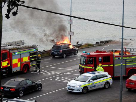 A fire broke out in the car while its driver was queuing for the ferry at Passage West, Co Cork
