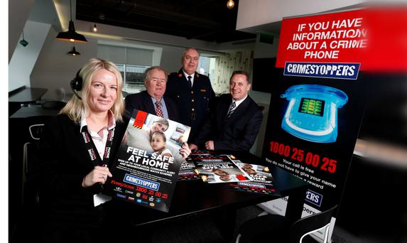Pictured (l-r) at the launch of Crimestoppers confidential hotline were Emma Harvey, PhoneWatch Monitoring Agent, Tim Dalton, Chairman, Crimestoppers, Derek Byrne, Assistant Commissioner, An Garda Síochána and Eoin Dunne, CEO, PhoneWatch