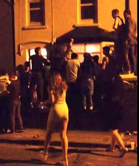A late-night student party at Magazine Road in Cork