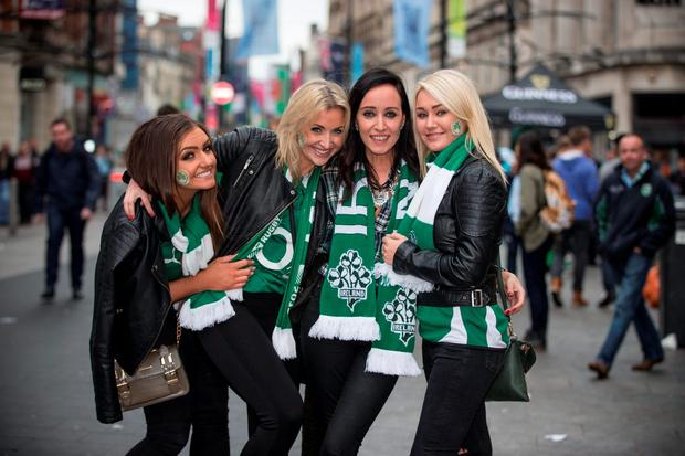 Irish fans Jodie McGinley, Pauleen Cox, Aisling Fraher and Laura Marie Fennell were in Cardiff for Ireland's defeat to Argentina in the Rugby World Cup quarter-final