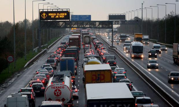 Traffic on the M50 Southbound at a standstill due to an incident at J6 Blanchardstown
