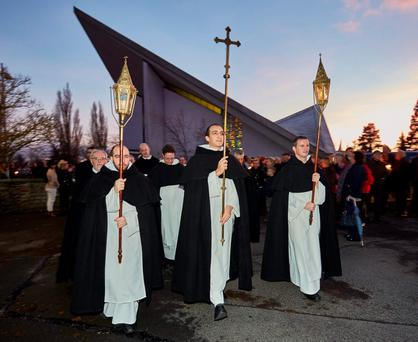 Parishoners gathered to bid farewell to the Dominicans after the last Mass in St Dominick's Church in Athy, Co Kildare