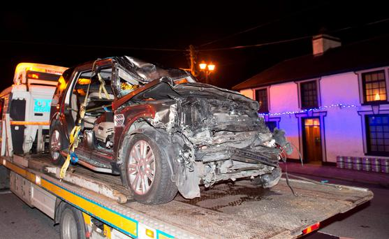 The battered remains of a Land Rover involved in a three-vehicle pile-up in Co Galway. Photo: Andrew Downes