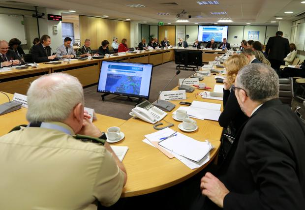 The meeting of the National Emergency Co Ordination Group in Agriculture House yesterday. Photo: Frank McGrath