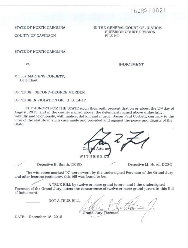 Molly Martens' charge sheet