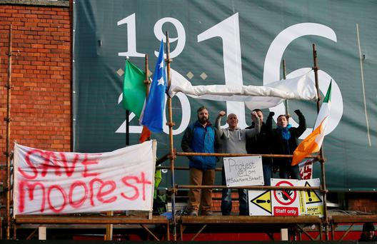 Protesters are halting restoration works at the 1916 site on Dublin's Moore Street, over fears the historical structures may be damaged. Photo: PA