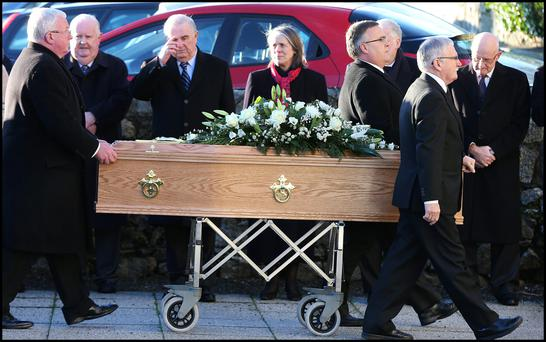 RIP: Former Chief Justice John Murray and current Chief Justice Susan Denham at the funeral Mass of Patrick Connolly Photo: Steve Humphreys