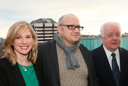 Actress Eva Birthistle, and directors Lenny Abrahamson and Jim Sheridan at the launch of the Irish Film Board's 2016 slate of productions. Photo: Damien Eagers
