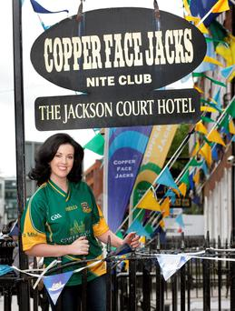 Deirdre Reynolds outside Copper Face Jacks on Harcourt Street. Photo: Ronan Lang/Feature File