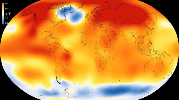 This illustration obtained from NASA yesterday shows that 2015 was the warmest year since modern record-keeping began in 1880. Photo: AFP/Nasa/Getty
