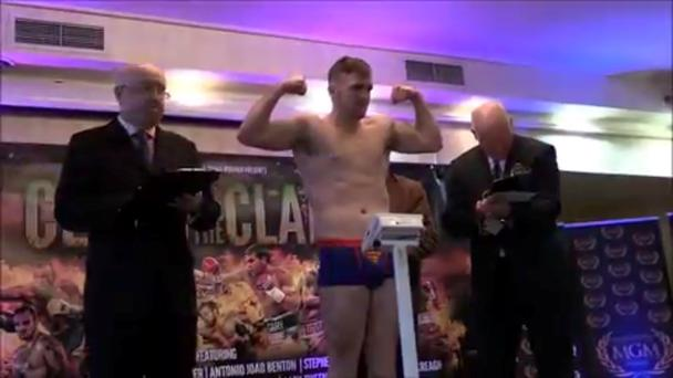 Gary Sweeney at the weigh-in