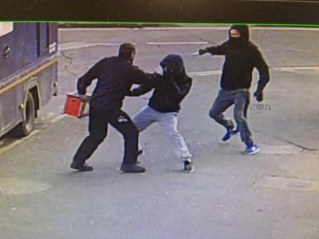 CCTV of cash-in-transit van raid in Bluebell, Dublin.