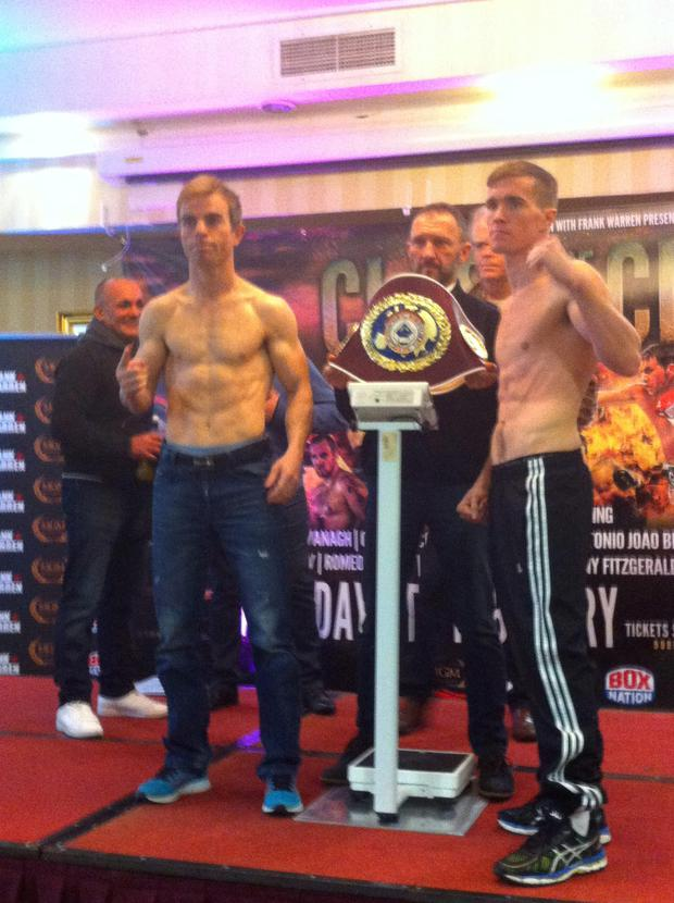 Boxers Antonio Joao Bento (left) and Jamie Kavanagh (right) at the weigh-in before the attack at the Regency Hotel.