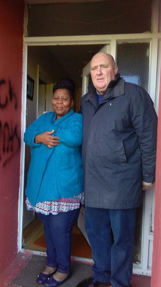 Meriam Ajayi with Councillor John Hearne (SF)