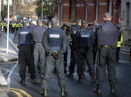 Members of the Garda public Order Unit on duty on Kildare street during the water charge protest