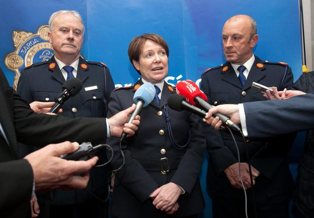 Left to right, Donall O'Cualain, Noirin O'Sullivan and Assistant Garda Commissioner, Dublin Metropolitan Region, John Twomey