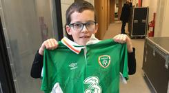 Daniel Bracken (8) was picked to be Ireland's mascot last night at the Aviva. Photo: Twitter/Ray D'Arcy Show