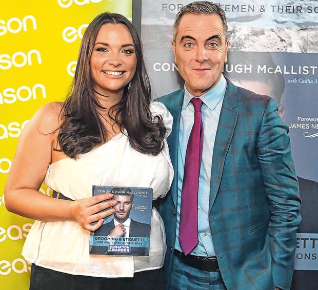 Caitlin McBride, Executive Editor, Style, Independent.ie and Actor, Jimmy Nesbitt at the launch of Grooming and Etiquette for gentlemen by the Grafton Barber. Pic credit; Damien Eagers / INM