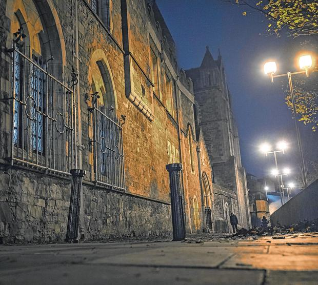 Scene: A lane off Winetavern Street, Christchurch, Dublin, where an alleged sexual assault took place recently. Picture: Arthur Carron