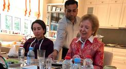 Concern: Princess Latifa, left, has a meal with Mary Robinson. Photo: AFP/Getty Images