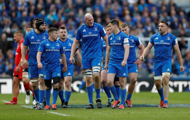 Leinster's Johnny Sexton and team mates get to grips with defeat to Saracens at St James's Park in Newcastle. Photo: Reuters
